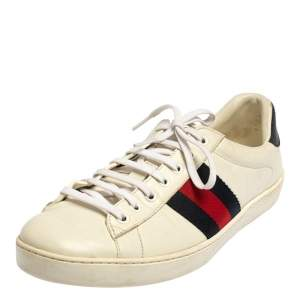 Gucci White Leather And Fabric Web Ace Sneakers Size 43