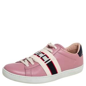 Gucci Pink Leather Ace Gucci Stripe Low Top Sneakers Size 38.5