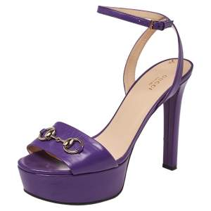 Gucci Purple Leather Claudie Horsebit Peep Toe Platform Sandals Size 41