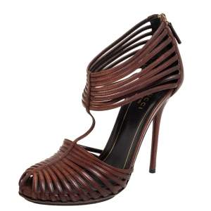 Gucci Brown Leather Tamponato Strappy Sandals Size 37