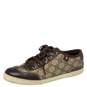 Gucci Brown GG Supreme Canvas And Leather Barcelona Low Top Sneakers Size 37