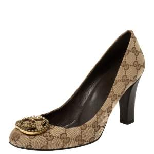 Gucci Beige GG Canvas Interlocking GG Block Heel Pump Size 39