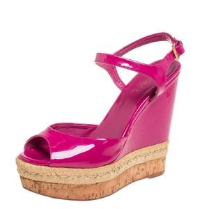 Gucci Pink Patent Leather Hollie Wedge Sandals Size 37.5