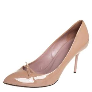 Gucci Beige Patent Leather Bow Pumps Size 39