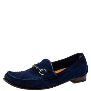 Gucci Blue Suede Horsebit Slip On Loafers Size 39.5