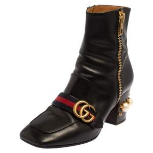 Gucci Black Leather Logo Pearl Embellished Ankle Boots Size 39.5