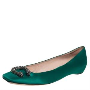 Gucci Green Satin Dionysus Ballet Flats Size 39