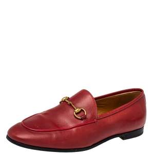 Gucci Red Leather Horsebit  Slip On Loafers Size 38