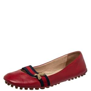 Gucci Red Leather And Web Bayadere Bee Ballet Flats Size 38.5
