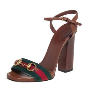 Gucci Brown Leather And Web Horsebit  Ankle Strap Sandals Size 37.5