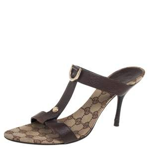 Gucci Brown Leather And GG Canvas Open Toe Sandals Size 39