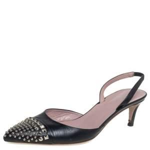 Gucci Black Leather Embellished Pointed Toe Slingback Sandals Size 39
