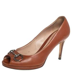 Gucci Tan Leather Jolene Horsebit Peep Toe Pumps Size 39