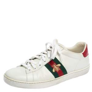 Gucci White Leather  Ace Bee Lace Up Sneakers Size 38