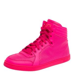 Gucci Neon Pink Perforated Leather Coda High Top Sneakers Size 38