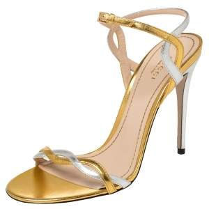 Gucci Metallic Gold/Silver Leather Ankle Strap Sandals Size 39