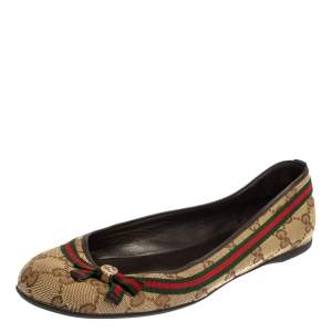 Gucci Beige GG Canvas Web Bow Ballet Flats Size 38.5