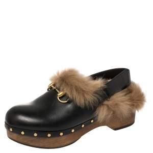 Gucci Black Leather Amstel Fur Slingback Clogs Size 38