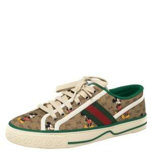 Gucci Brown Coated Canvas Disney Edition Low Top Sneakers Size 38