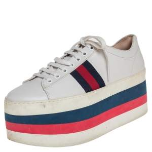 Gucci White Leather Ace Platform Sneakers Size 38
