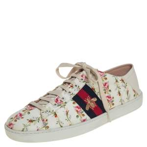 Gucci Cream/White Rose Print Canvas And Leather Ace Sneakers Size 40.5