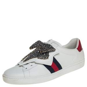 Gucci White Leather Ace Beaded Bow Low Top Sneakers Size 39