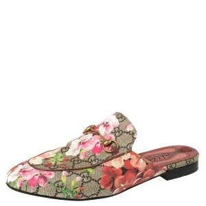 Gucci Beige Blooms Printed GG Canvas Princetown Mules Sandals Size 39