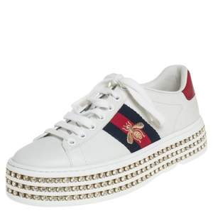 Gucci White Leather Ace Crystal Embellished Platform Sneakers Size 34