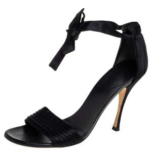 Gucci Black Satin Ankle Strap Sandals Size 39.5