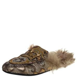 Gucci Brown Jacquard And Fur Princetown Mules Size 37