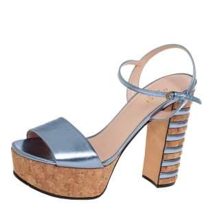 Gucci Blue Leather Claudie Ankle Strap Platform Sandals Size 38