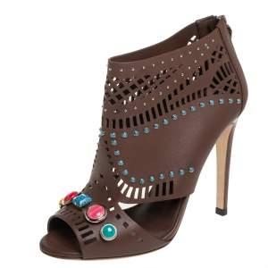 Gucci Brown Leather Jewel Embellished Peep Toe Booties Size 37