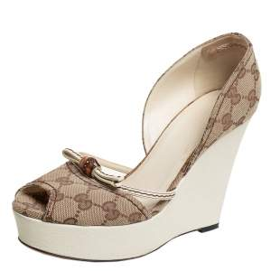 Gucci Beige GG Canvas Bamboo Peep Toe D'orsay Wedge Sandals Size 37