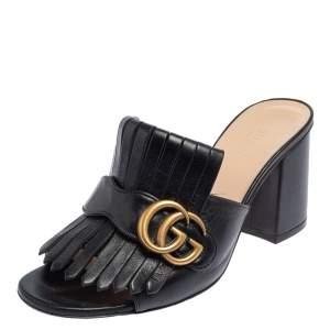 Gucci Black Leather GG Marmont Fringe Detail Open Toe Sandals Size 37