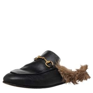 Gucci Black Leather and Fur Princetown Sandals Size 36