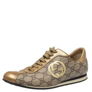 Gucci Gold/Beige Leather And GG Canvas Low Top Sneakers Size 37.5