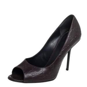 Gucci Brown Guccissima Leather Peep Toe Pumps Size 37.5