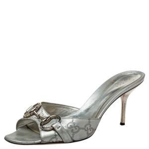 Gucci Silver Guccissima Leather Horsebit Slide Sandals Size 37.5