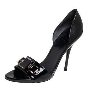 حذاء كعب عالي غوتشي دورساي جلد لامع أسود بزخارف كريستال بمقدمة مفتوحة مقاس 38