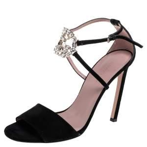 Gucci Black Suede Crystal Embellished GG Interlock Ankle Strap Sandals Size 39.5