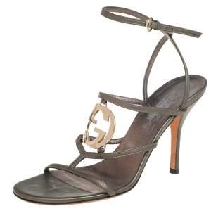 Gucci Metalic Grey Leather Interlocking G Strappy Sandals Size 38