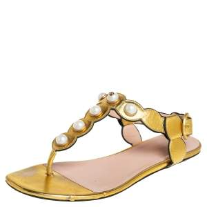 Gucci Gold Leather  Pearl T-Strap Sandals Size 36.5