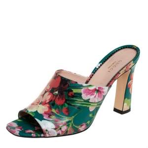 Gucci Multicolor Bloom Print Leather Shanghai Open Mules Size 39