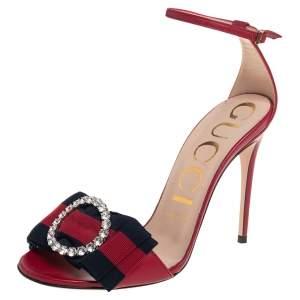 Gucci Red Leather Charlotte Web Crystal Embellished Ankle Strap Sandals Size 37.5