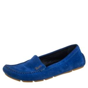 Gucci Blue Suede Slip On  Loafers Size 37