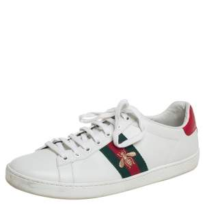 Gucci White Leather Ace Sneakers Size 41