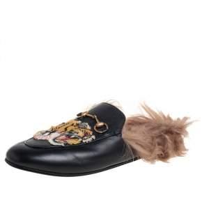 Gucci Black Leather, Fur Princetown Sandals Size 40