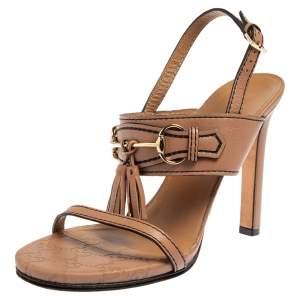 Gucci Beige Leather Horsebit Tassel Emily Slingback Sandals Size 38
