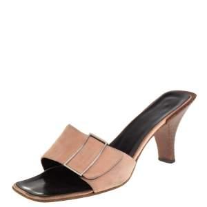 Gucci Pale Pink Suede Vintage Square Toe Slide Sandals Size 37.5