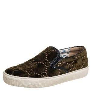 Gucci Olive Green GG Velvet Slip On Sneakers Size 37